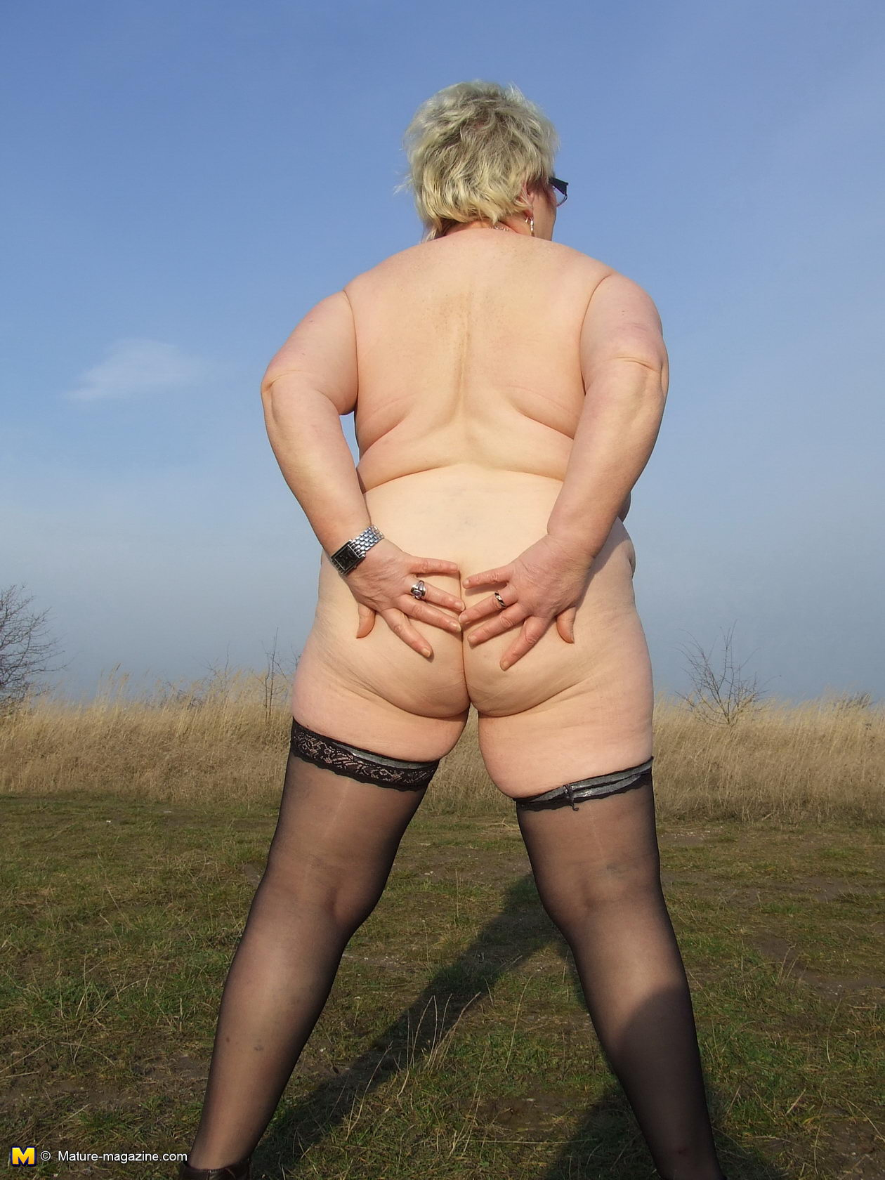 Mature amateur peeing outdoors