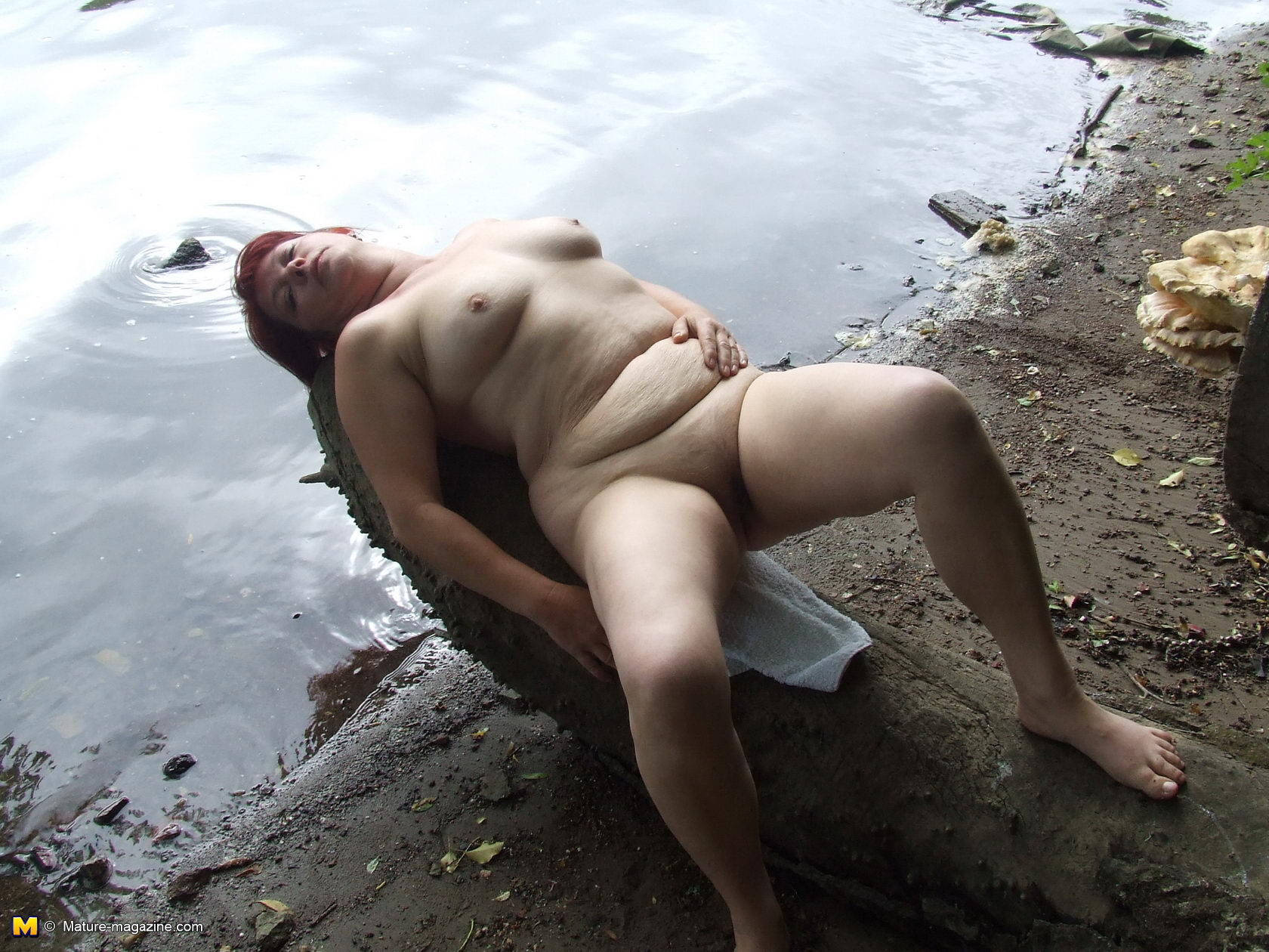 Naked mature outdoors public