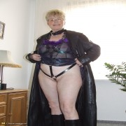 Big mama showing off her kinky outfit