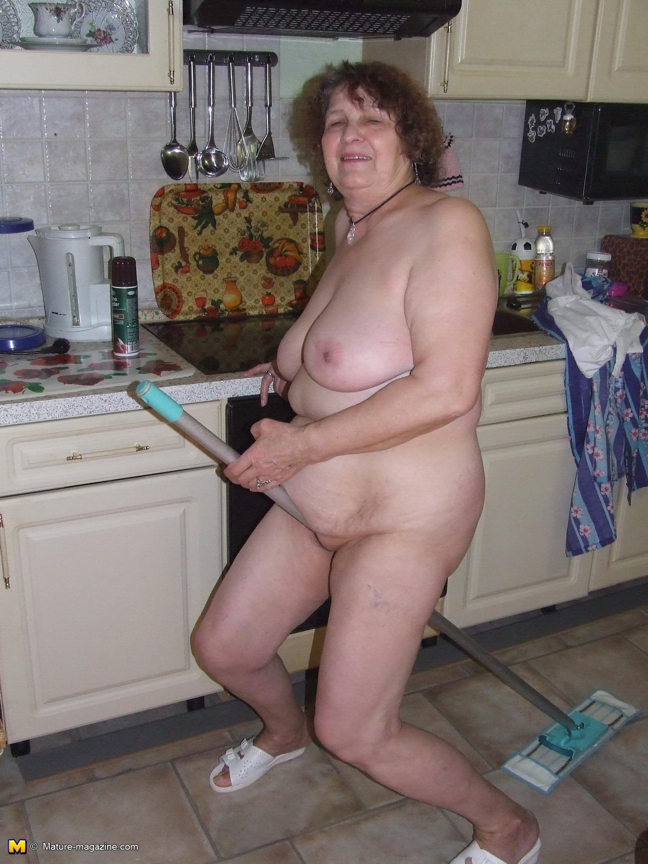 Mature naked in the kitchen suggest