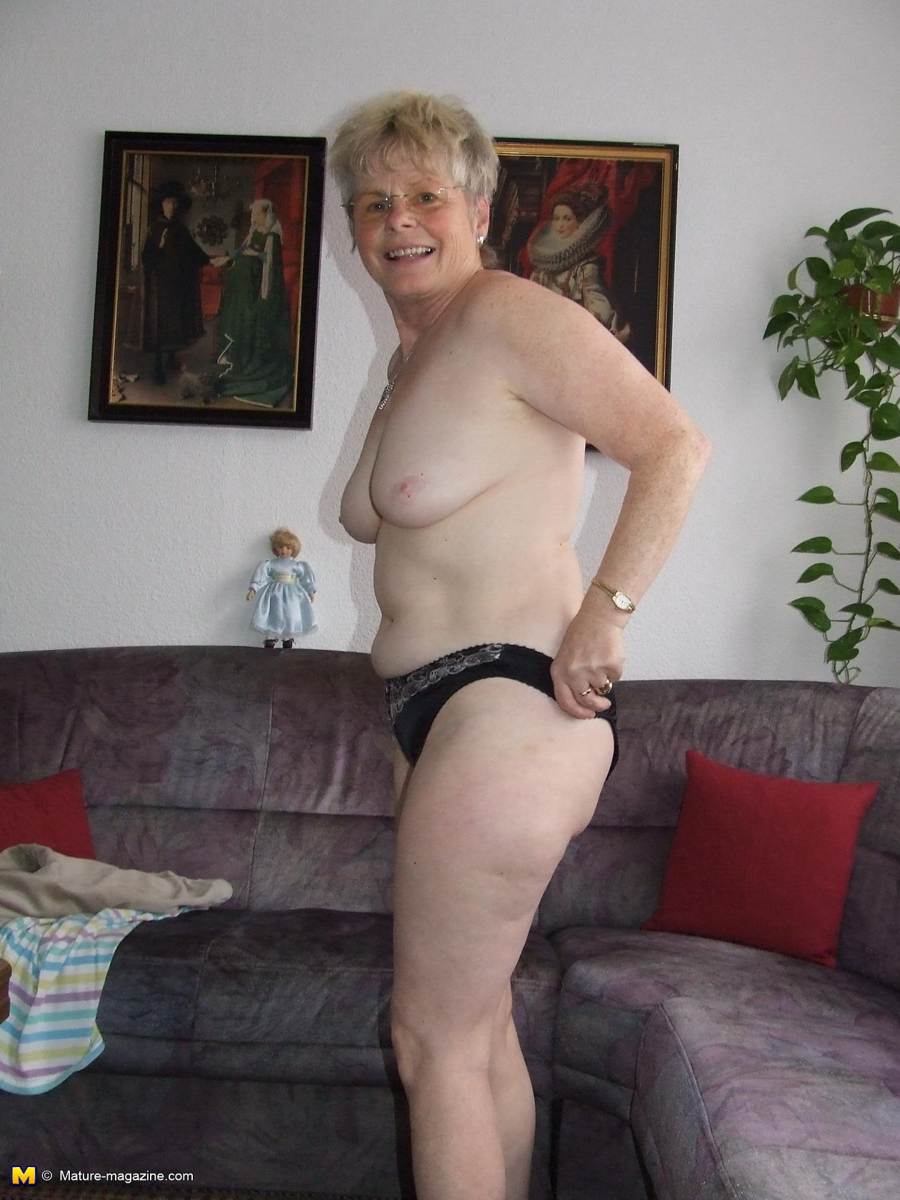 Naked body showing granny
