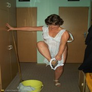 This cleaning lady gets a little dirty