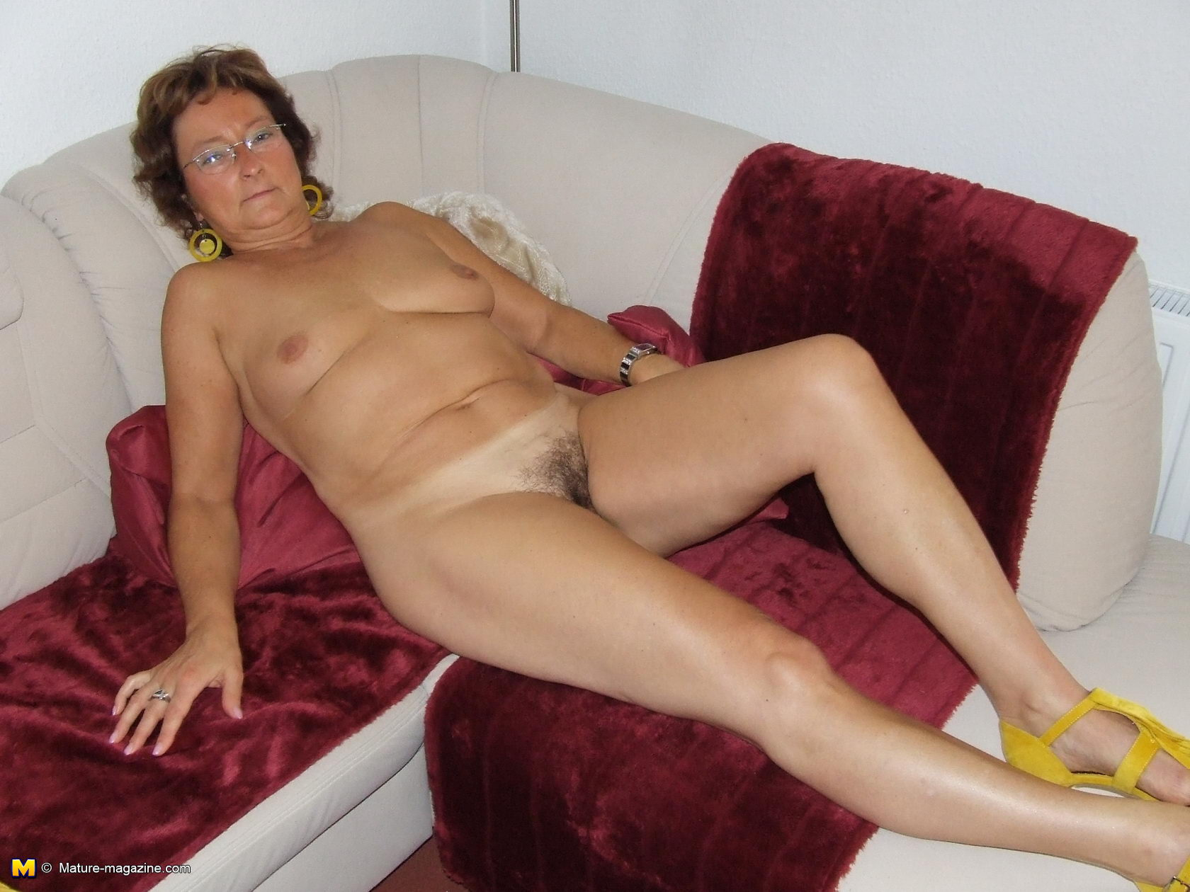 Hairy mom getting naked
